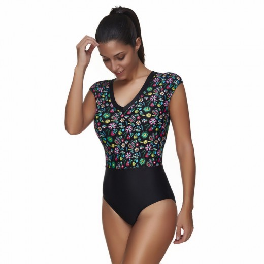 Vivid Floral Print Wire Free One Piece Plus Size Swimsuit