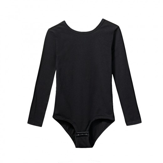 Sensual Curves Black U Back Bodysuit Long Sleeve