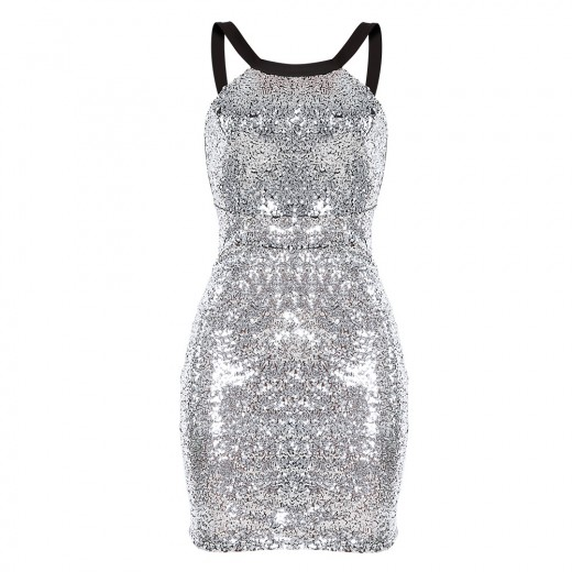 Glitter Backless Silver Sequin Shift Dress Sleeveless