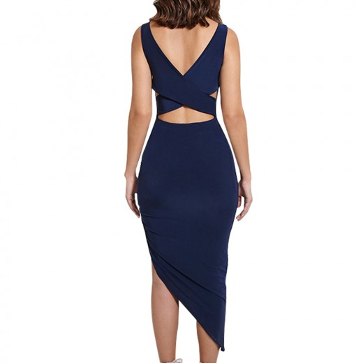 Skinny Cross Back Ruched Midi Navy Blue Bodycon Dress