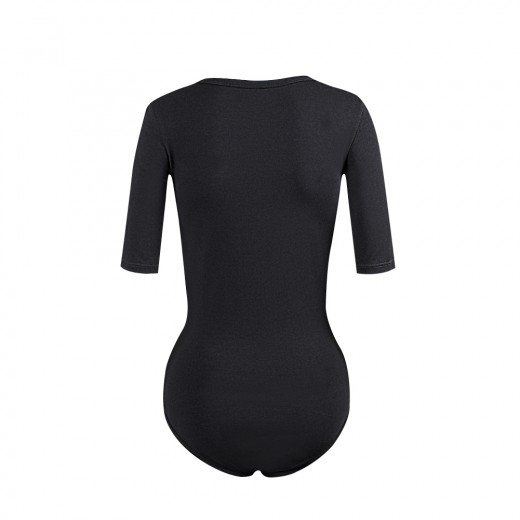 Lightweight Stretching Sheer Black Bodysuit Half Sleeve