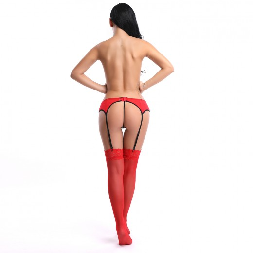 Glam Red Lace Garter Belt And Stocking Sets Back Hook Closure