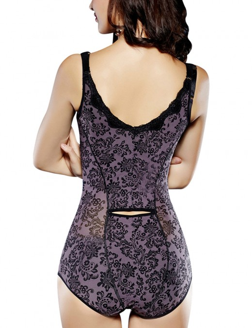 Abdominal Slimmer Lace Purple Shaping Bodysuit Seamless Push Up