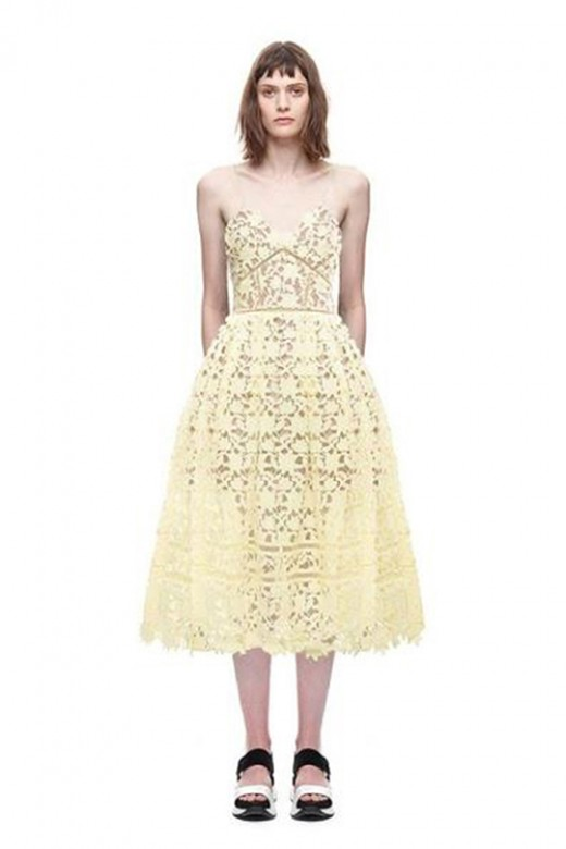 Transparent Ladder Trim Yellow Lace Illusion Dress Pockets