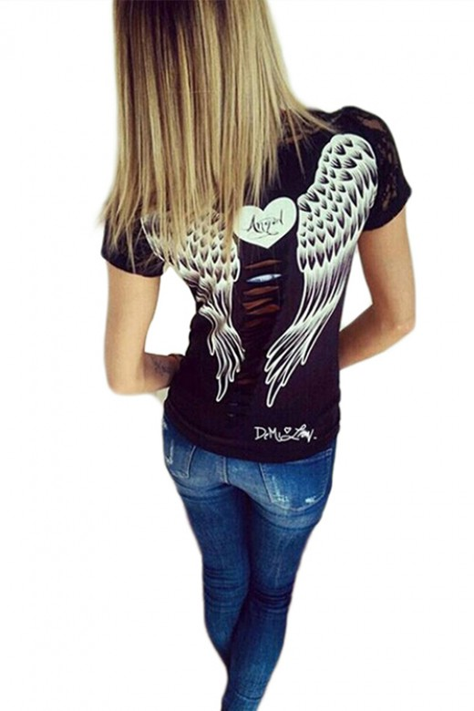 Casual Lace Trimmed Cut Out Angel Wing Blouse T Shirt