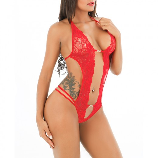Passionate Plunge Neck Bright Red Lace Teddy Romper Tie Back