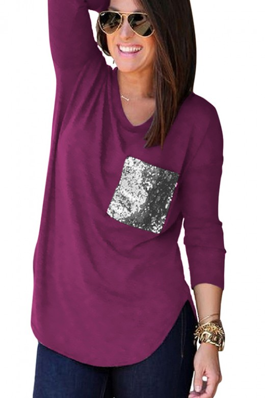 Impeccable Full-Length Sleeved Long Purple Blouse Sequin Chest