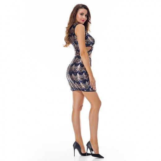 Shimmering Sequin Keyhole Cross Front Bodycon Sleeveless