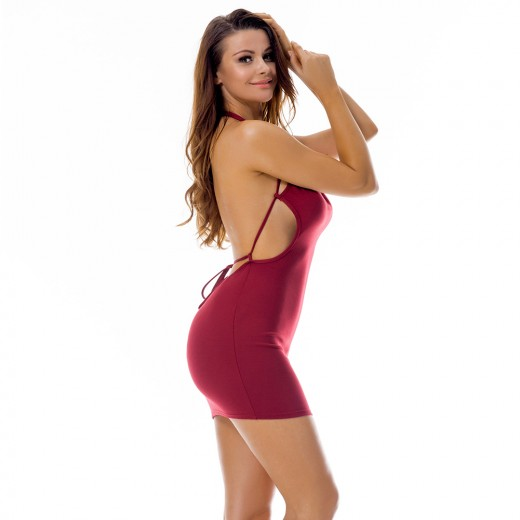 Glittering Halter Red Open Back Bodycon Dress Mini Length