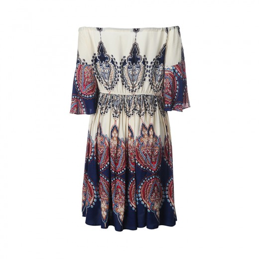 Bohemian Pattern Off Shoulder Half Sleeves Mini Length Dress