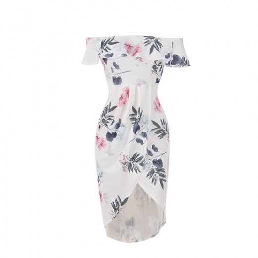 Graceful Ruffle Layer Printed Off Shoulder Slit Dress