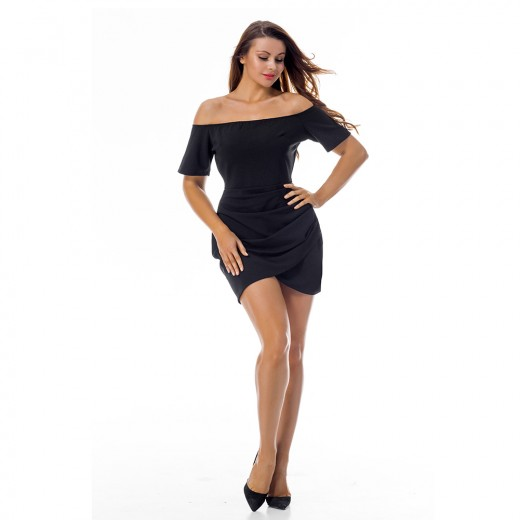Absorbing Short Sleeve Black Slash Neck Dress Ruched Side