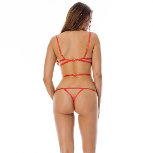 Zealous Red Ring Link Up One Piece Lace Lingerie Clasp