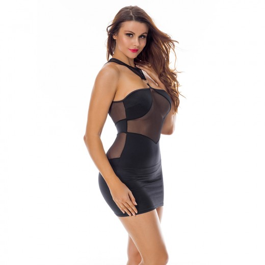 Black Mesh Insert Lingerie Mini Dress Ring Link Up