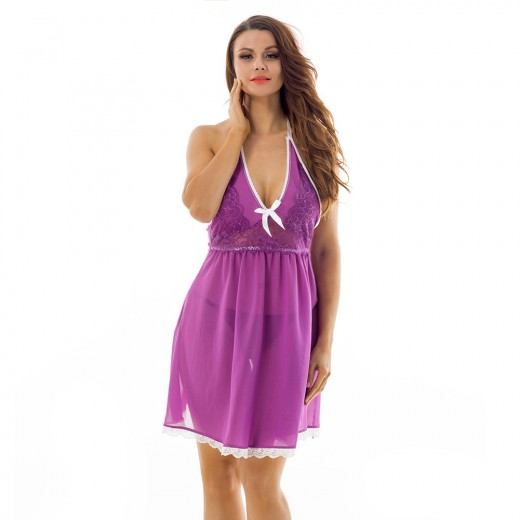 Lovely Halter High Cup Lace Trimmed Purple Lingerie Dress