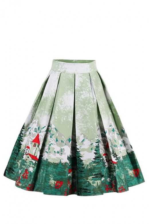 Mountain And Tree Print A-Line Pleated Skirt High Waist