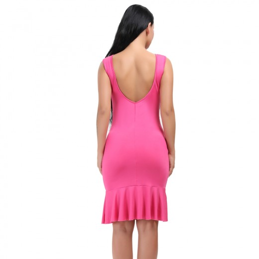 Rose Red Scoop Neck And Back Flounce Hem Dress Bodycon
