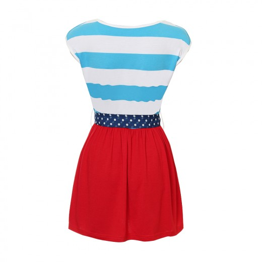 Blue And White Striped Blouse Top Attaching Red Long Layer