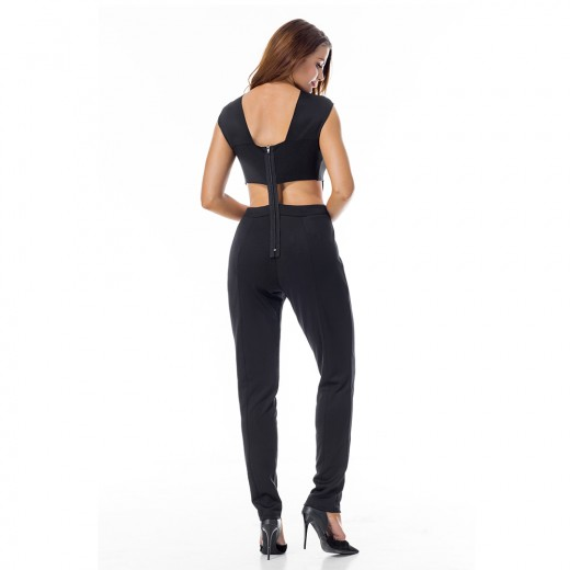 Cross Front Black Cut Out Bandage Jumpsuit Back Zipper