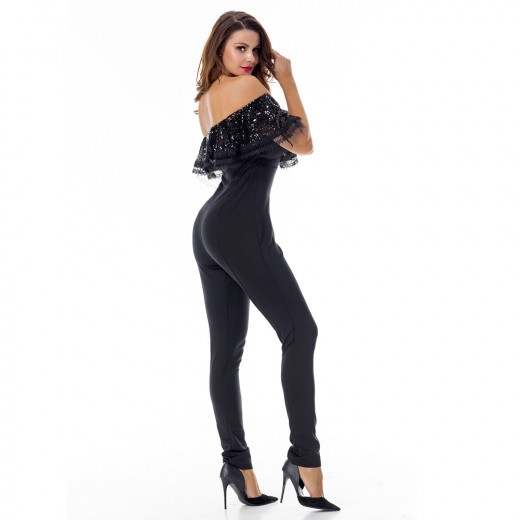 Edgy Black Off Shoulder Jumpsuit Short Sleeves Cover Beads