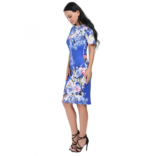 Bodycon Fit Floral Print Blue Dress Knee Length