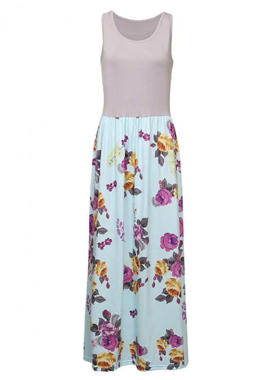 Long Solid Grey Top Splicing Floral Dress Sleeveless
