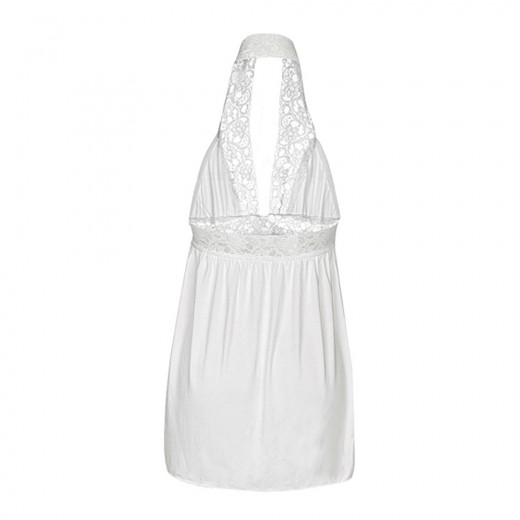 Pure White Lace Waist Chemise Backless Matching G-String