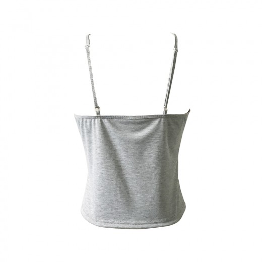 Plain Grey Backless Rose Print Spaghetti Strap Tank Top