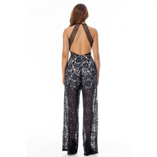 Halter Neck Overlay Black Floral Lace Jumpsuit Sleeveless