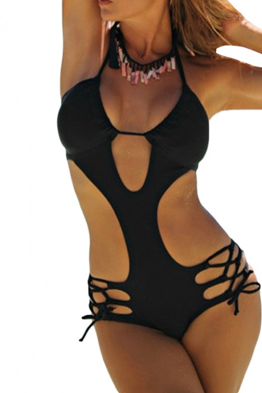 Cool Black One Piece Swimsuit Hollow Out Bust With Open Back