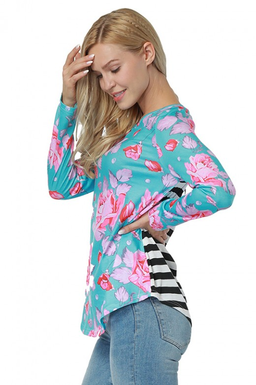 Casual Light Blue Long Sleeve Blouse Flower Print Round Neck