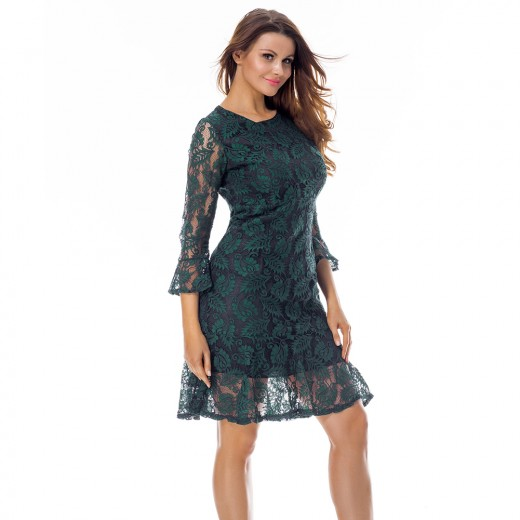Elegant Green Round Neck Mesh Shift Dress 3/4 Sleeve