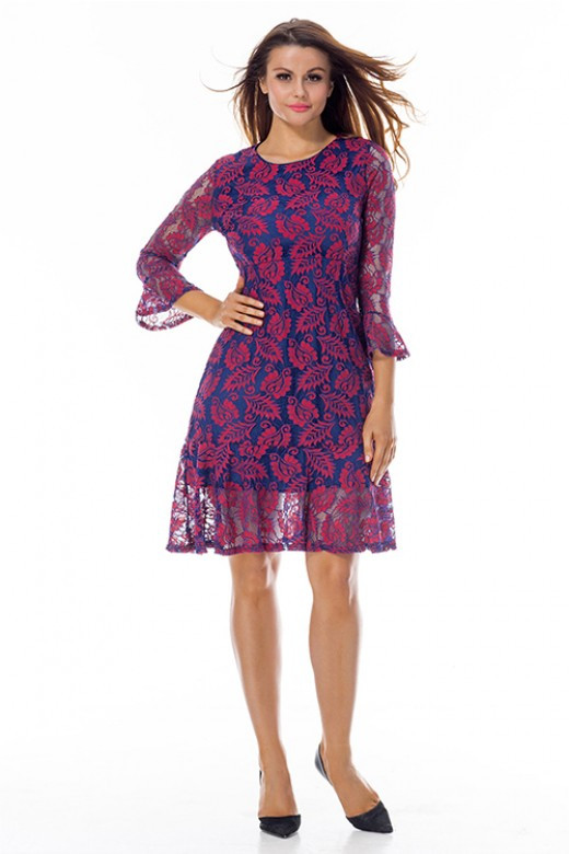 Charming Purple Flowy Ruffle Mini Dress Floral Lace Overlay
