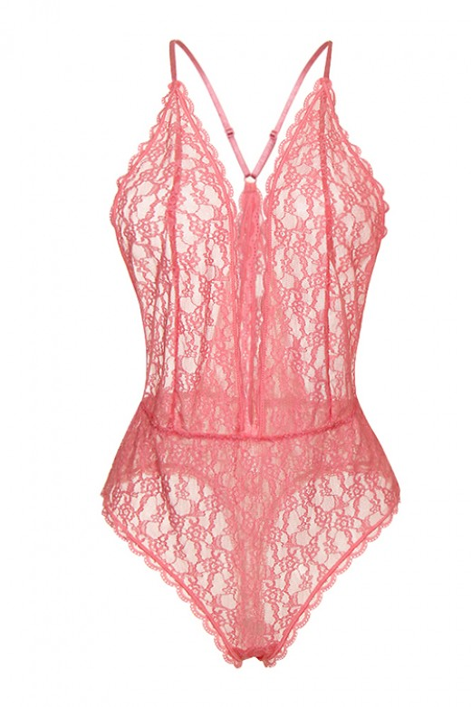 Eye-Catching Pink Halter Neck Teddy Scalloped Lace Trim