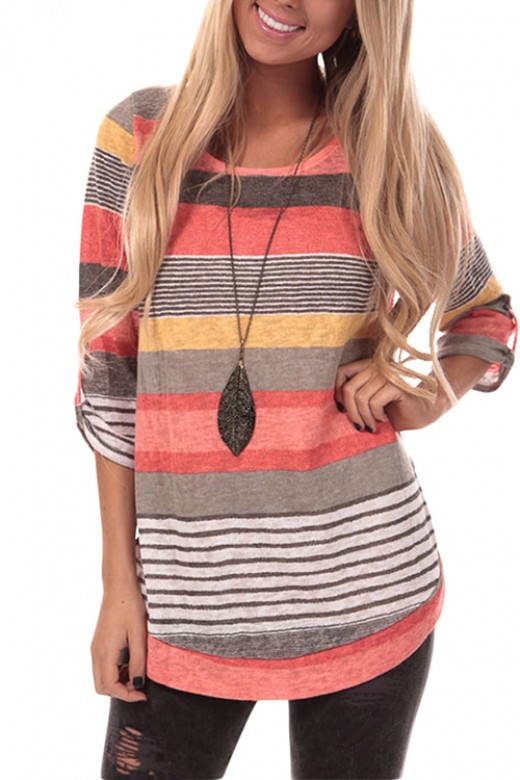 Comfortable Orange Round Neck Striped Blouse 3/4 Sleeve