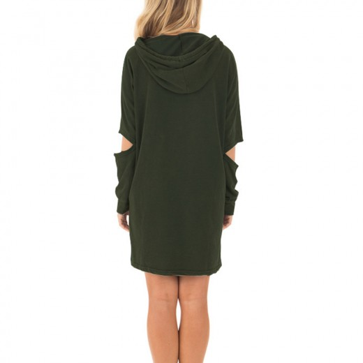 Casual Army Green Drawstring Hoodie Pullover Mini Dress