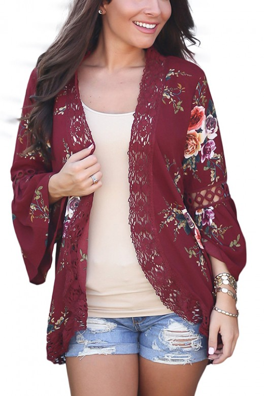 Wind Red Floral Print Loose Puff Sleeve Kimono Cardigan