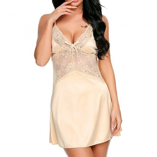 Cozy Nude Sheer Lace Waist Chemise Plunge Neckline