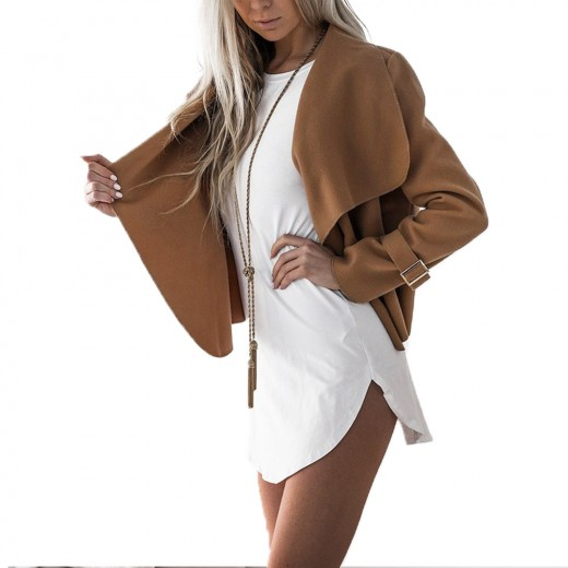 Plain Draped Collar Open Front Camel Coat With Buckle Cuff