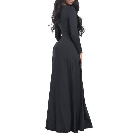Entrancing Big Black Full Sleeves Plus Size Maxi Dress