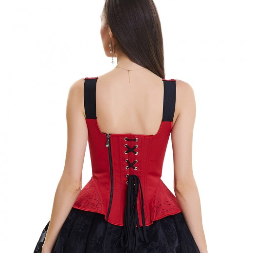 Solid Red 10 Plastic Bones Zipper Back Overbust Corset