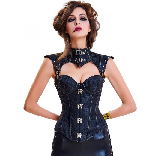 Stylish Black 16 Plastic Bones Buckled Straps Gothic Corset