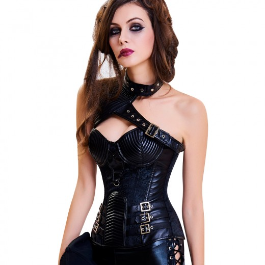 Black Leather 13 Plastic Bones Embroidery Overbust Corset