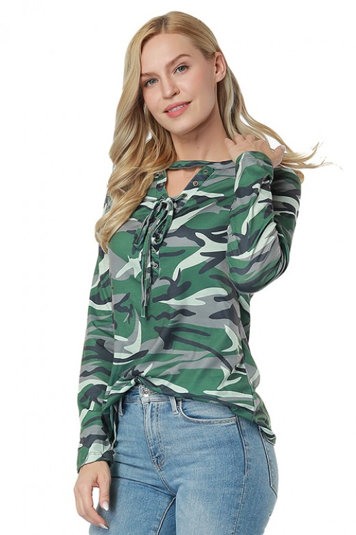 Breathable Green Camo Print Blouse Full Sleeve Lace Up