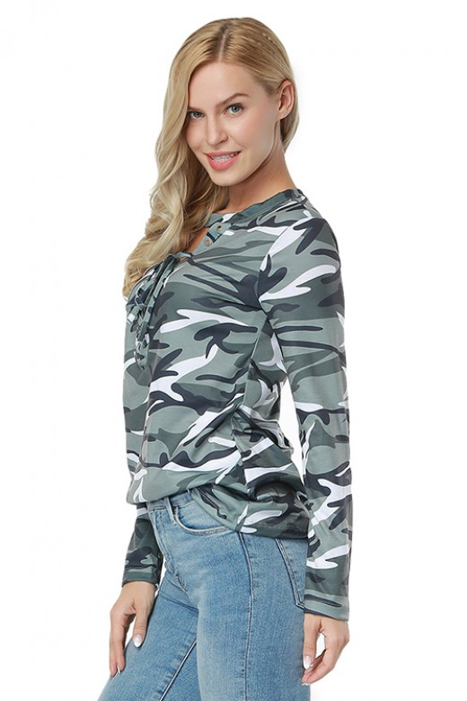 Stretchy Grey Full Sleeve Lace Up Front Blouse Round Neck