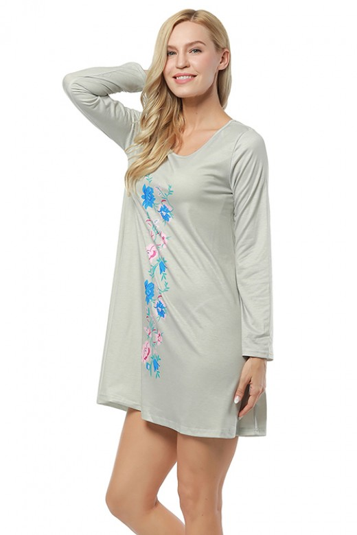 Leisure Floral Printed Ruffle Hem Dress Full Sleeve