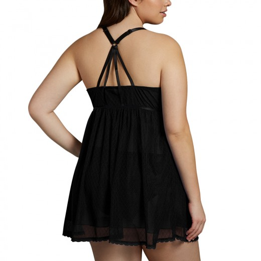 Seductive Black Criss Cross Front Plus Size Lace Babydoll