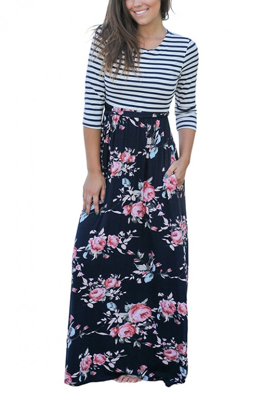 Splicing Striped 3/4 Sleeves Tie Waist Maxi Dress With Pockets