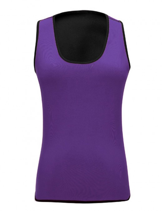 Purple Tanks Shaper Neoprene No Sleeves Square Neck Large Size