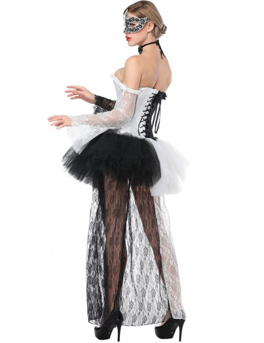 Functional White Lace Up Corset With Skirts Long Sleeves